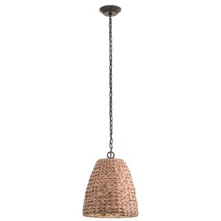 Kichler Lighting Palisades Collection 1-light Olde Bronze/Natural Wicker Outdoor Pendant