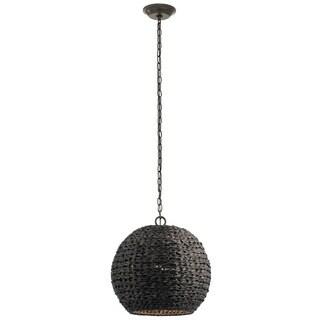 Kichler Lighting Palisades Collection 1-light Olde Bronze/Chestnut Wicker Outdoor Pendant