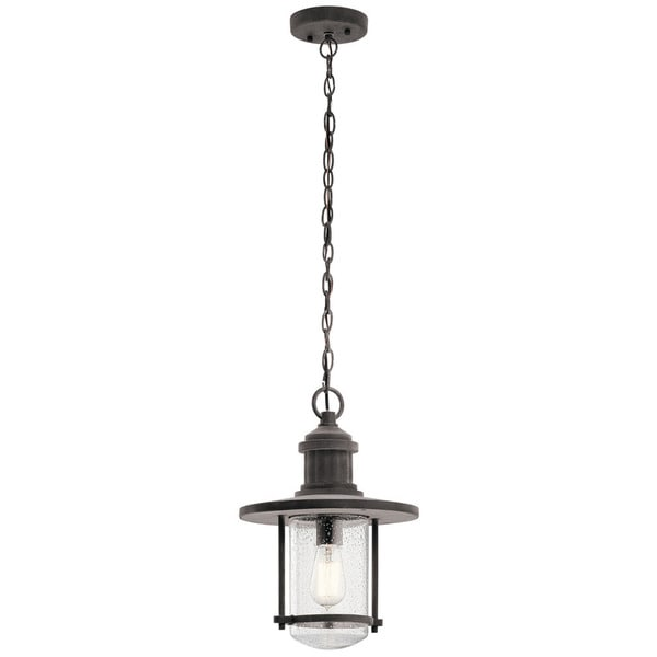 Kichler Lighting Riverwood Collection 1 Light Weathered Zinc Outdoor Pendant On Free Shipping Today 14341247