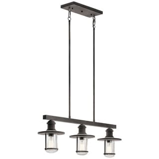 Kichler Lighting Riverwood Collection 3-light Weathered Zinc Outdoor Linear Chandelier
