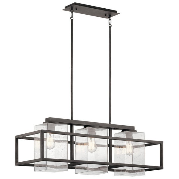 Kichler Lighting Wright Collection 3 Light Weathered Zinc Outdoor Linear Chandelier
