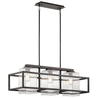 Kichler Lighting Wright Collection 3-light Weathered Zinc Outdoor Linear Chandelier