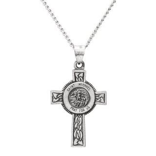 Sterling Silver Men's Large St. Michael Cross Necklace With 24-inch Chain