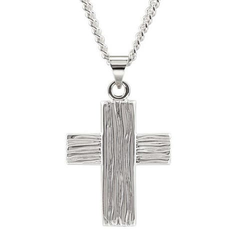 Sterling-silver Men's Ridged Cross 24-inch Curb Chain Necklace