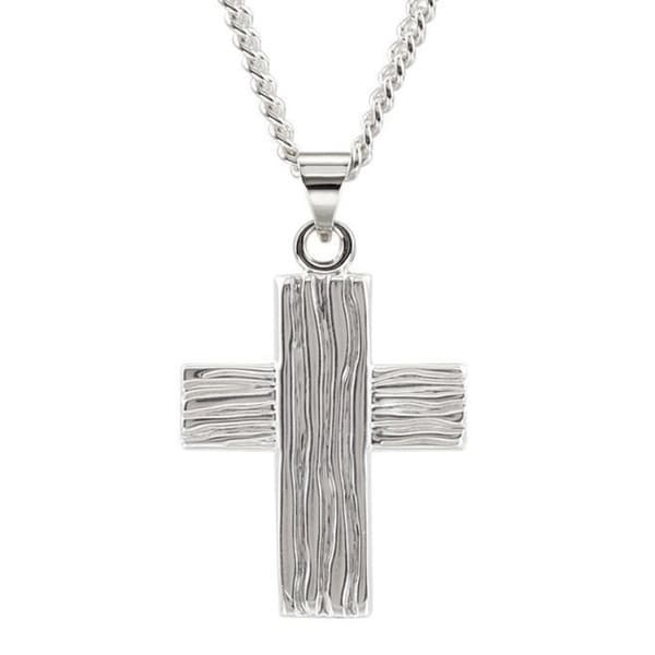 63339c48b9f ... Men's Jewelry; /; Men's Necklaces. Sterling-silver Men's Ridged  Cross 24-inch Curb Chain Necklace
