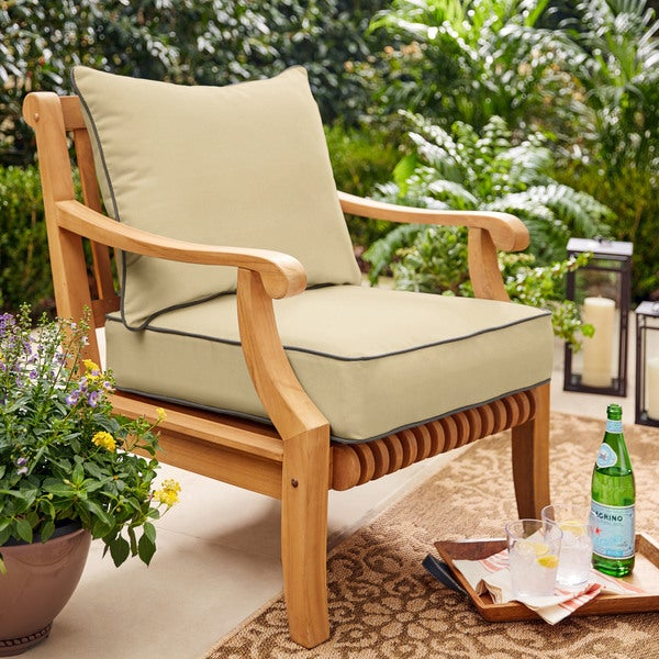 Sawyer Sunbrella Antiqu Beige with Charcoal Cording Indoor/ Outdoor Chair Cushion and Pillow Set