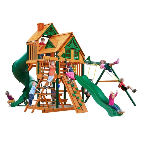 Gorilla Playsets Great Skye I Treehouse Cedar Swing Set with Timber Shield Posts