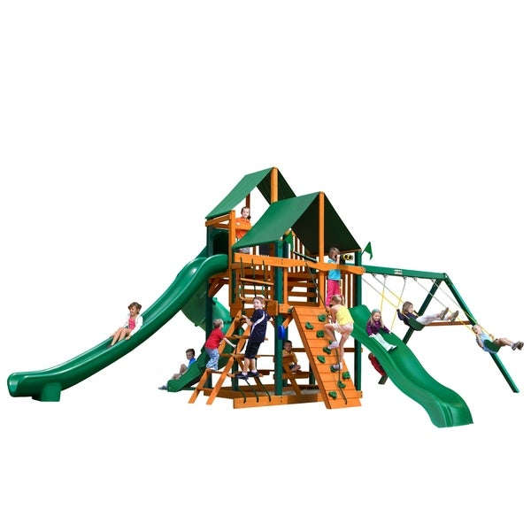 Gorilla Playsets Great Skye II Cedar Swing Set with Sunbrella Canvas Canopy and Timber Shield Posts