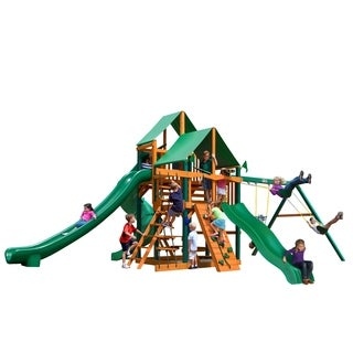 Gorilla Playsets Great Skye II Timber Shield and Deluxe Green Vinyl Canopy Playset