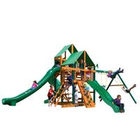 Gorilla Playsets Great Skye II Cedar Swing Set with Green Vinyl Canopy and Timber Shield Posts