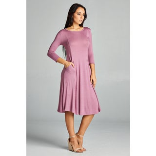 Spicy Mix Chaya Fit & Flare 3/4-sleeved Midi Dress with Side Slit Pockets