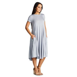 Spicy Mix Aurelia Rayon Jersey Short-Sleeve Midi Tunic Dress with Front Pockets