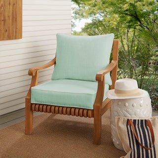 Sawyer Sunbrella Canvas Spa with Canvas Cording Indoor/ Outdoor Chair Cushion and PIllow Set