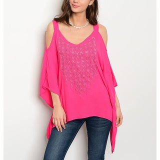 JED Women's Hot Pink Rayon Cold Shoulder Asymmetric Hem Tunic Top