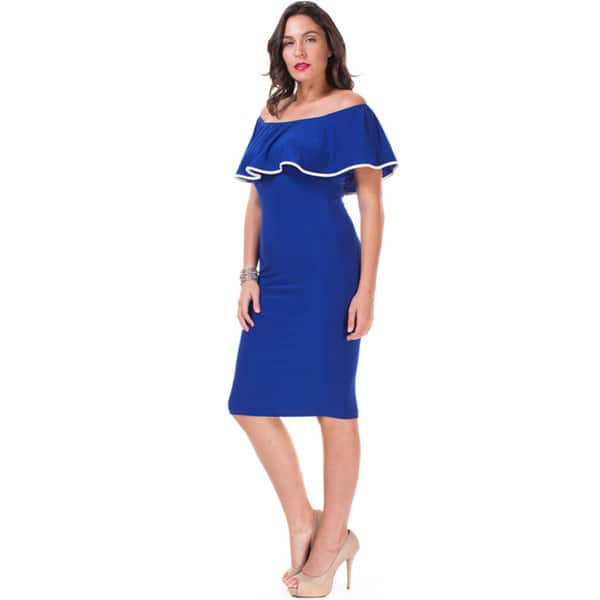 2995f5ca97 Shop JED Women's Plus Size Off-shoulder Ruffled Bodycon Knee-length ...