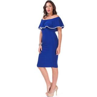 JED Women's Plus Size Off-shoulder Ruffled Bodycon Knee-length Dress