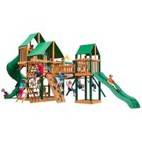 Gorilla Playsets Treasure Trove I Cedar Swing Set with Green Vinyl Canopy and Timber Shield Posts