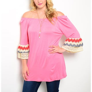JED Women's Pink Plus Size Off-the-shoulder Quarter-sleeve Tunic