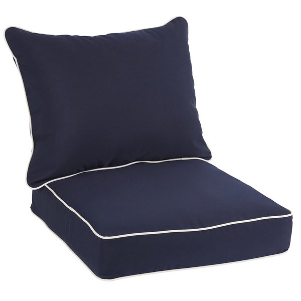navy with canvas cording indoor outdoor chair cushion and pillow set