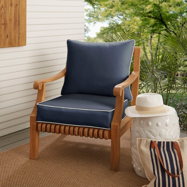Shop Sunbrella Navy with Ivory Indoor/ Outdoor Chair Cushion and ...