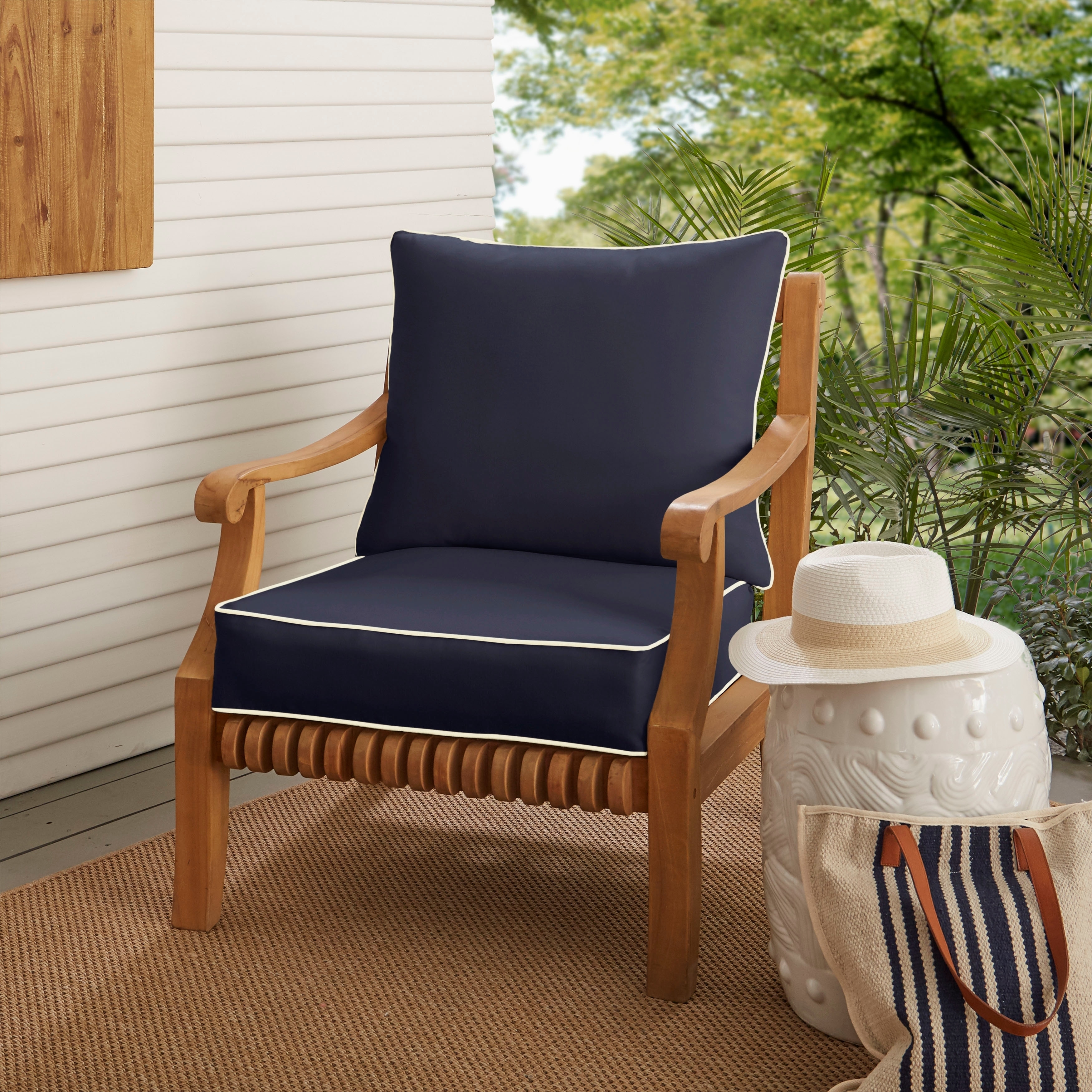 Shop Sunbrella Navy With Ivory Indoor Outdoor Chair Cushion And