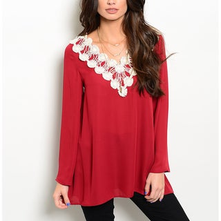 JED Women's Crochet Long-sleeve V-neck Tunic
