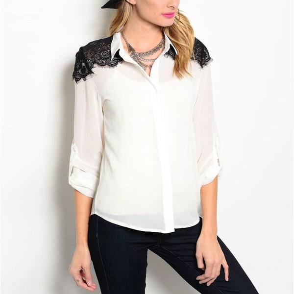 4f3fd420c00 Shop JED Women s Chiffon Button-down Lace-detailed Shoulder Shirt ...