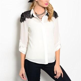 JED Women's Chiffon Button-down Lace-detailed Shoulder Shirt