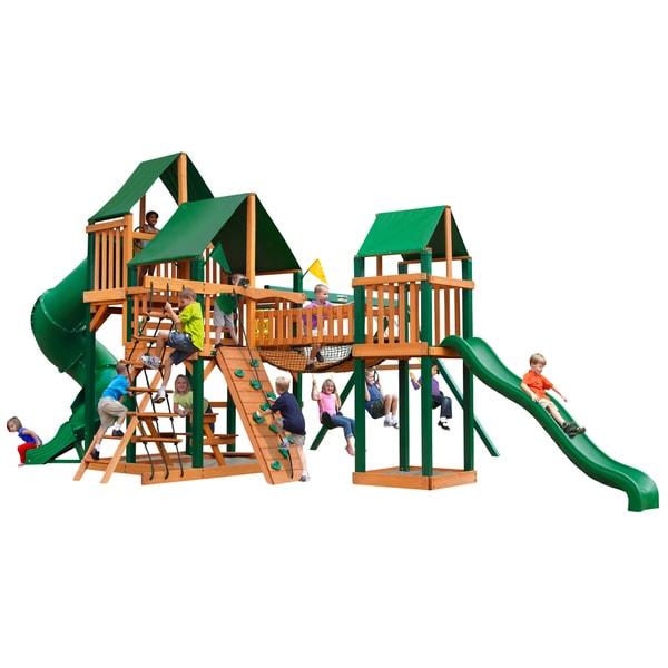 Gorilla Playsets Treasure Trove I Cedar Swing Set with Sunbrella Canvas Canopy and Timber Shield Posts