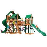 Gorilla Playsets Treasure Trove I Cedar Swing Set with Sunbrella Canvas Canopy and Timber Shield Posts