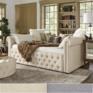 queen size tufted scroll arm daybed and trundle by inspire q artisan