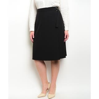 JED Women's Solid A-line Knee-length Skirt|https://ak1.ostkcdn.com/images/products/14341340/P20918729.jpg?impolicy=medium