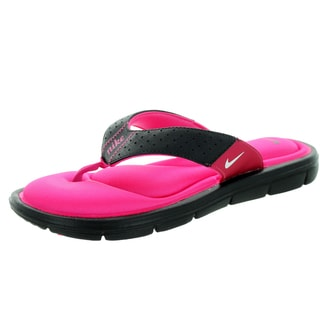Nike Women's Pink and Black Comfort Thong Sandal