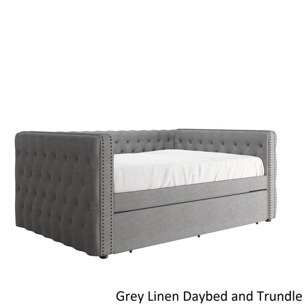 Knightsbridge Queen-size Tufted Nailhead Chesterfield Daybed and Trundle by  iNSPIRE Q Artisan - Free Shipping Today - Overstock.com - 20918744 - Knightsbridge Queen-size Tufted Nailhead Chesterfield Daybed And