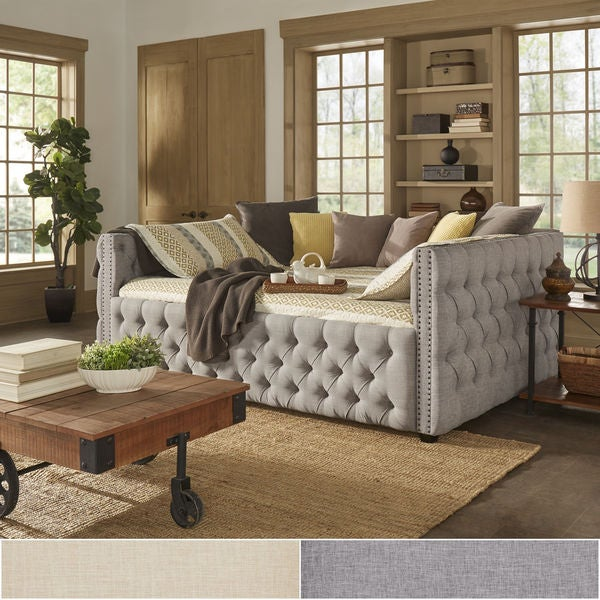 queensize tufted nailhead daybed and trundle by inspire q artisan