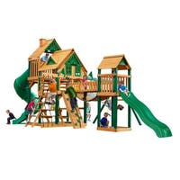 Gorilla Playsets Treasure Trove I Treehouse Cedar Swing Set with Timber Shield Posts
