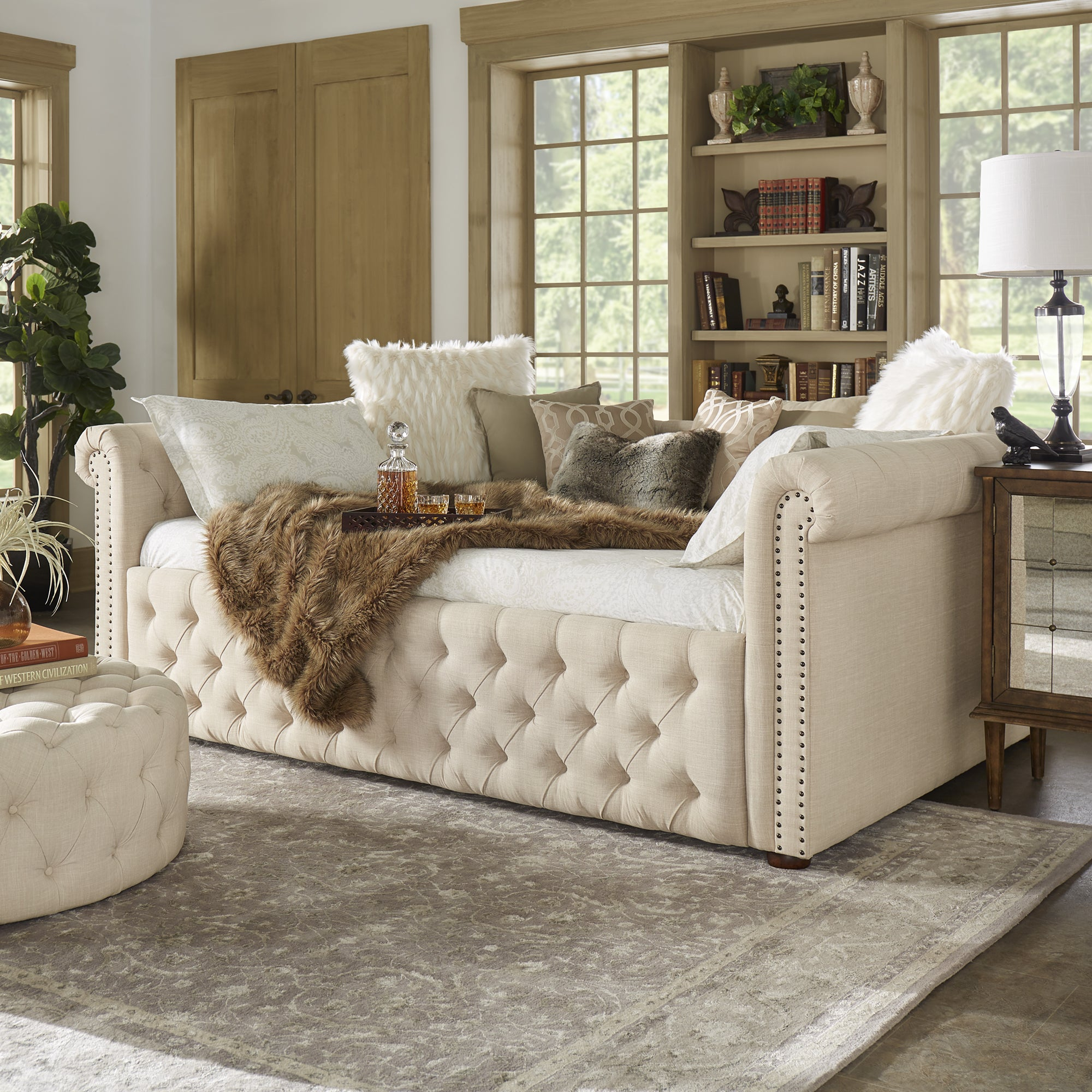 Shop Knightsbridge Full Size Tufted Scroll Arm Chesterfield Daybed