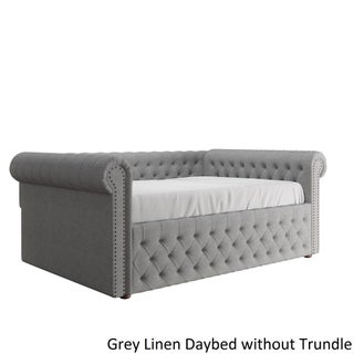 Knightsbridge Full Size Tufted Scroll Arm Chesterfield Daybed and Trundle by iNSPIRE Q Artisan (Option: Grey Linen Daybed WITHOUT Trundle)