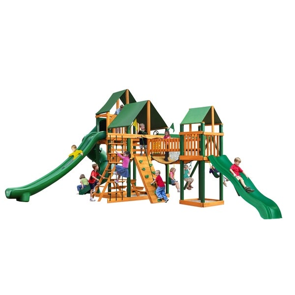 Gorilla Playsets Treasure Trove II Cedar Swing Set with Sunbrella Canvas Canopy and Timber Shield Posts