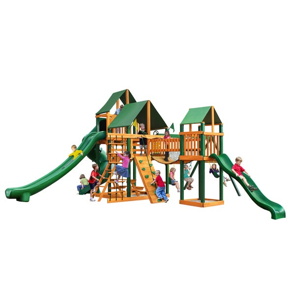 Gorilla Playsets Treasure Trove II with Timber Shield and Sunbrella Canvas Forest Green Canopy
