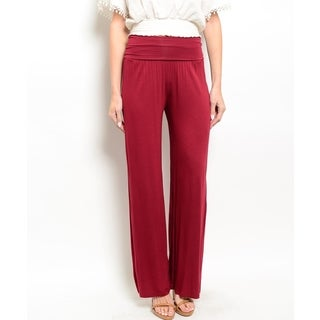 JED Women's Viscose and Spandex Foldover Waist Palazzo Pants