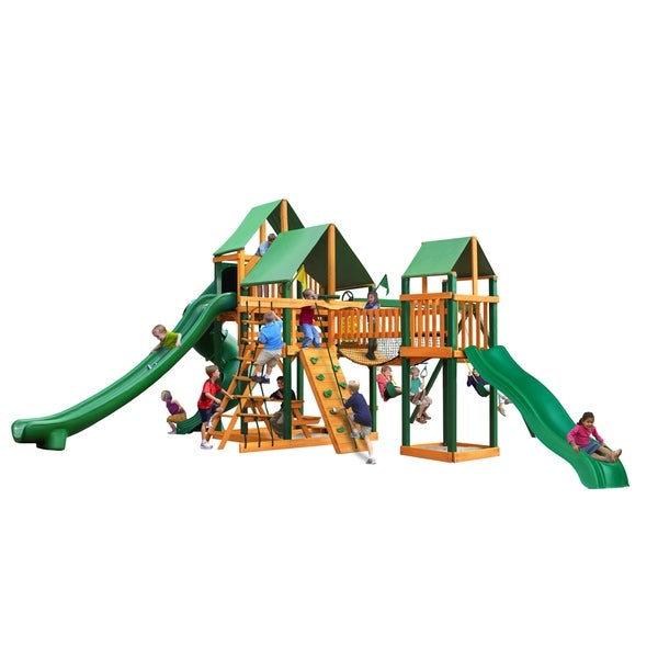 Gorilla Playsets Treasure Trove II Cedar Swing Set with Green Vinyl Canopy and Timber Shield Posts