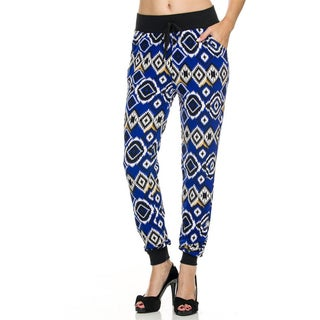 JED Women's Blue Geometric Printed Jogger with Elastic Waist in Stretchy Poly Spandex Fabric