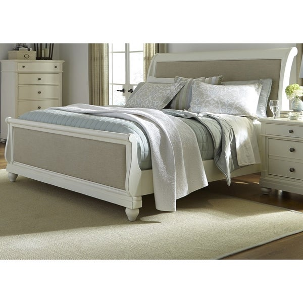 Harbor White Cottage Upholstered Sleighbed Free Shipping
