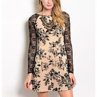 JED Women's Long-sleeve Floral Lace A-line Mini Dress