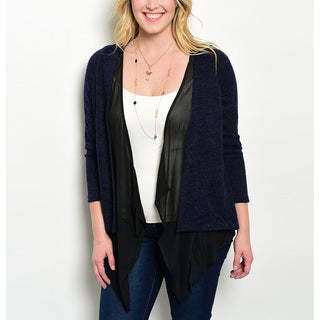 JED Women's Blue Layer Effect Plus Size Cardigan with Slashed Back Detail