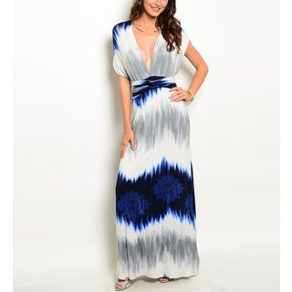 JED Women's Tie Dye Convertible Infinity Navy Rayon, Spandex Maxi Dress