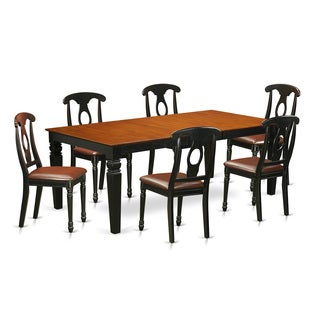LGKE7-BCH 7-Piece kitchen table set with one Logan table and six dining room chairs in Black & Cherry Finish