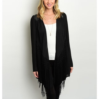 JED Women's Black Fringe-detailed Long-sleeve Cardigan