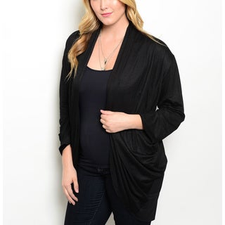 JED Women's Black Plus Size Long-sleeve Cardigan with Lace Detailed Back